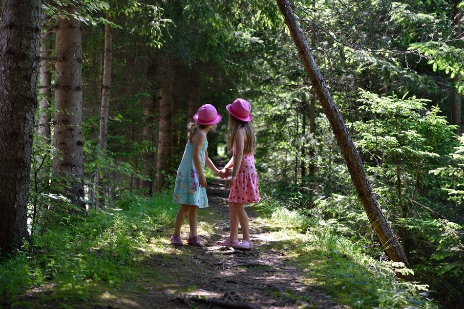 Girls on a path among the forest