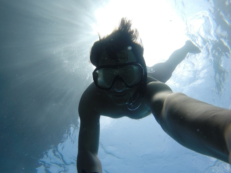 Snorkeling under the water