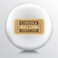 Round Icon With a Cinema Admit One Ticket