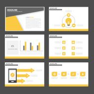 Black and yellow Infographic elements presentation template flat design set
