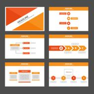 Red Orange Infographic elements presentation template flat design set
