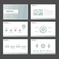 Blue Infographic elements presentation template flat design set