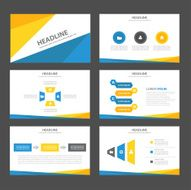 Blue yellow Infographic elements icon presentation template flat design set