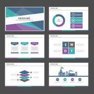 Blue green purple Multipurpose Infographic elements presentation template flat design