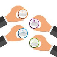 Infographics design template with human hands holding the round blocks N3