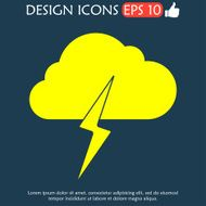 Lightning bolt weather flat line icon infographic illustration template N6