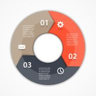 Vector circle arrows infographic diagram 3 options
