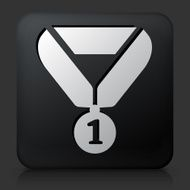 Black Square Button with First Place Medal Icon
