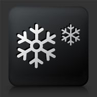 Black Square Button with Snowflakes N2