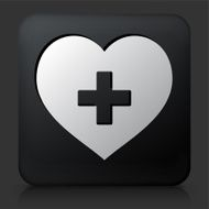 Black Square Button with Heart Icon N2