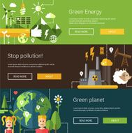 Set of ecological flat modern illustrations banners headers with icons