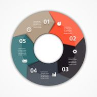 Vector circle arrows infographic diagram 5 options