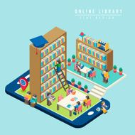 online library concept 3d isometric infographic N2
