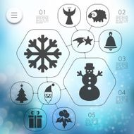 Christmas infographic with unfocused background N185