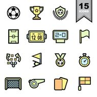 Soccer football Line icons set N3