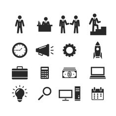 Vector business pictogram black icons management and human resources