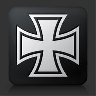 Black Square Button with Iron Cross Icon
