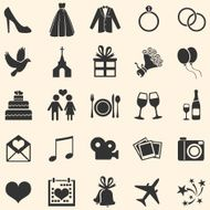 Vector Set of 25 Wedding Icons N2