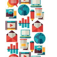 Media and communication seamless pattern with blog icons N3