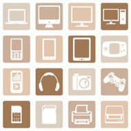 Vector Set of Digital Devices Icons N10