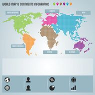 Dot World Map & Continents Infographic