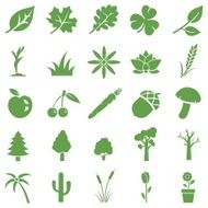 vector set of green plants icons