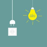 Hanging yellow light bulb socket cord plug Idea concept Flat