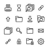 Set of simple linear icons on white background