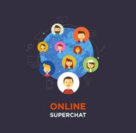 Online chat social media illustration