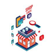 Flat 3d isometric design Mobile payment Online shopping e-commerce concept N10