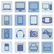 Vector Set of Digital Devices Icons N19