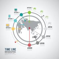 Timeline Infographic world vector design template N2