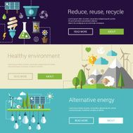 Set of ecological flat modern illustrations banners headers with icons N2
