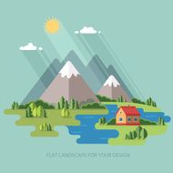 Summer spring mountain landscape Flat design style vector illustration