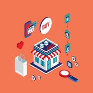Flat 3d isometric design concept Shopping and e-commerce N11