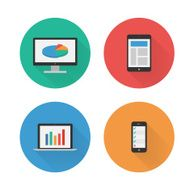 Responsive Design Flat Icons Set Vector N2