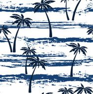 Seamless pattern with sea and palm trees Summer background