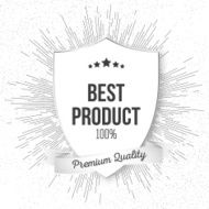 Best product shield isolated on blurred background with vintage style