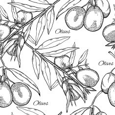 Seamless pattern with olive branches monochrome