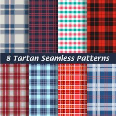 vector set of tartan squared seamless abstract fabric background N2