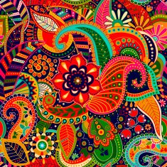 Bright seamless pattern in paisley style N2