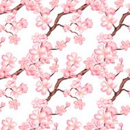 Watercolor seamless pattern with blossom sakura cherry tree