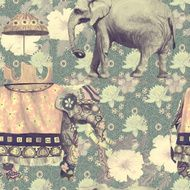 Vintage style seamless pattern with indian elephants Hand drawn vector