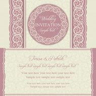 Baroque wedding invitation pink and beige N2
