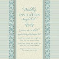 Baroque wedding invitation blue and beige