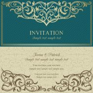 Baroque invitation blue and beige N4
