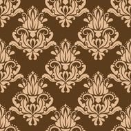 Brown and beige floral seamless pattern