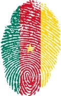 Cameroon flag on top of a fingerprint