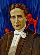 1914 poster depicting a young man and red demons on his shoulders