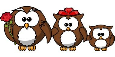 Clipart of three owls